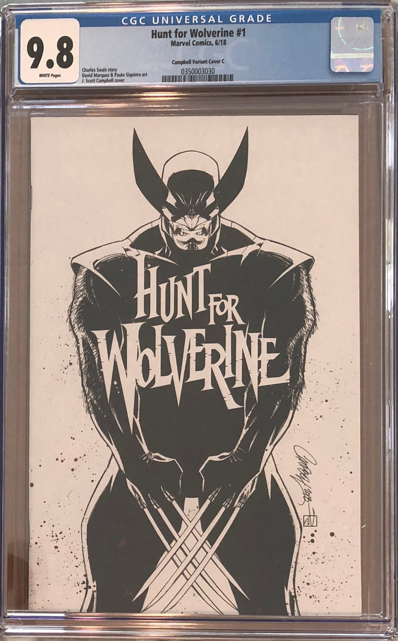 "Hunt For Wolverine #1 J. Scott Campbell Calgary Expo ""White"" C Virgin Sketch Exclusive CGC 9.8"