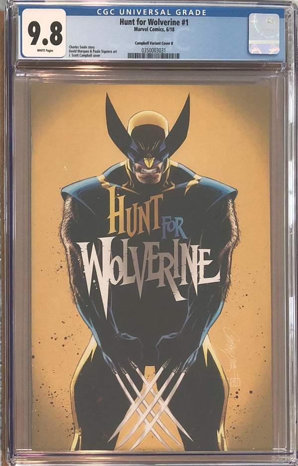 "Hunt For Wolverine #1 J. Scott Campbell Calgary Expo ""Yellow"" B Virgin Exclusive CGC 9.8"