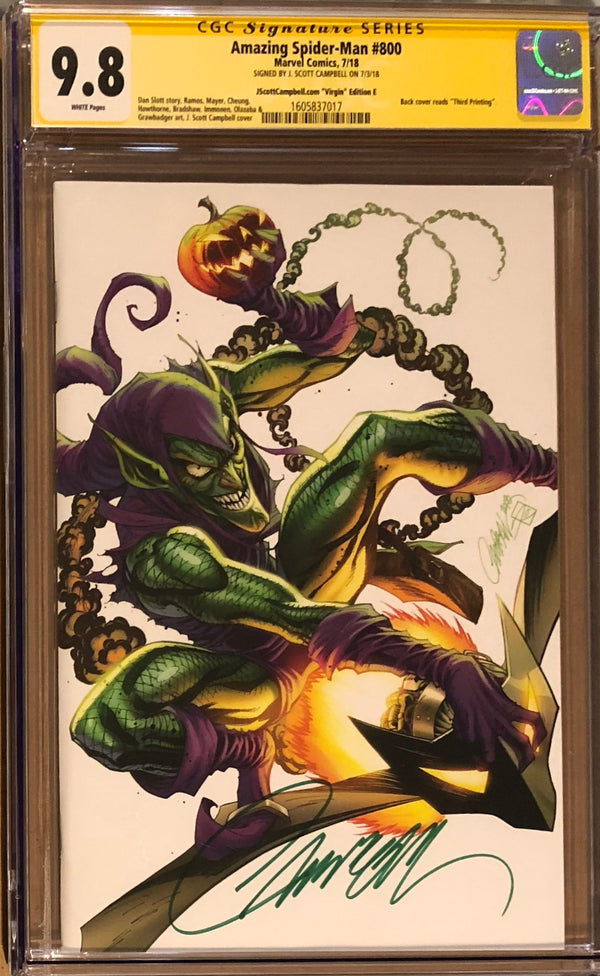 "Amazing Spider-Man #800 J. Scott Campbell Edition E ""Green Goblin"" SDCC Virgin Exclusive CGC 9.8 SS"