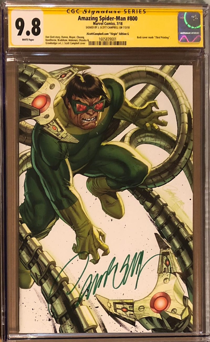 "Amazing Spider-Man #800 J. Scott Campbell Edition G ""Doctor Octopus"" SDCC Virgin Exclusive CGC 9.8 SS"