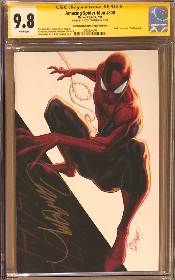 "Amazing Spider-Man #800 J. Scott Campbell Edition A ""Spider-Man"" SDDC Virgin Exclusive CGC 9.8 SS"