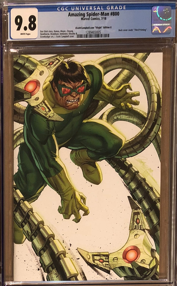 "Amazing Spider-Man #800 J. Scott Campbell Edition G ""Doctor Octopus"" SDCC Virgin Exclusive CGC 9.8"
