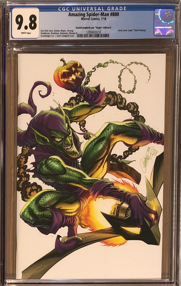 "Amazing Spider-Man #800 J. Scott Campbell Edition E ""Green Goblin"" SDCC Virgin Exclusive CGC 9.8"