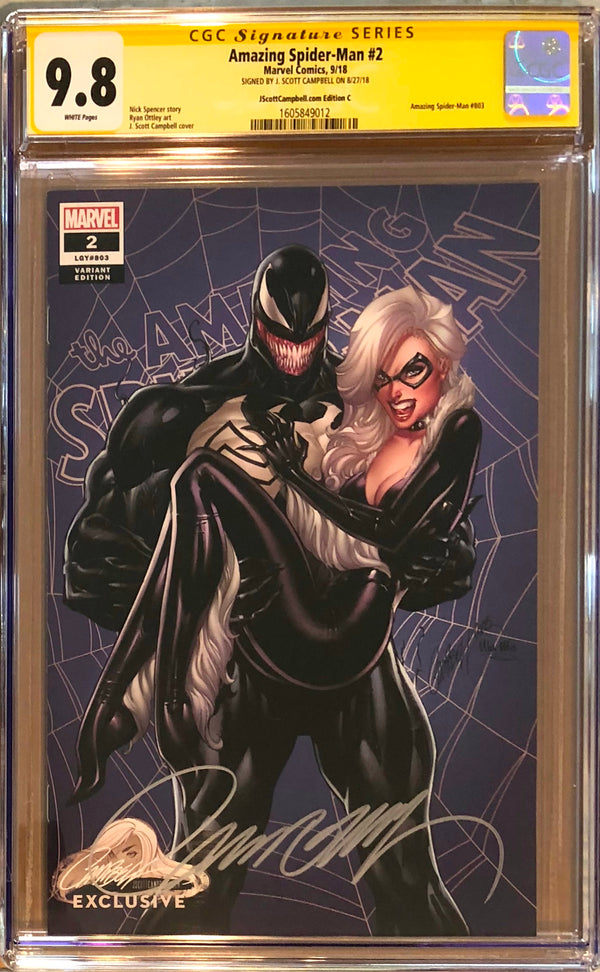 "Amazing Spider-Man #2 J. Scott Campbell Edition C ""Venom and Black Cat"" Exclusive CGC 9.8 SS"