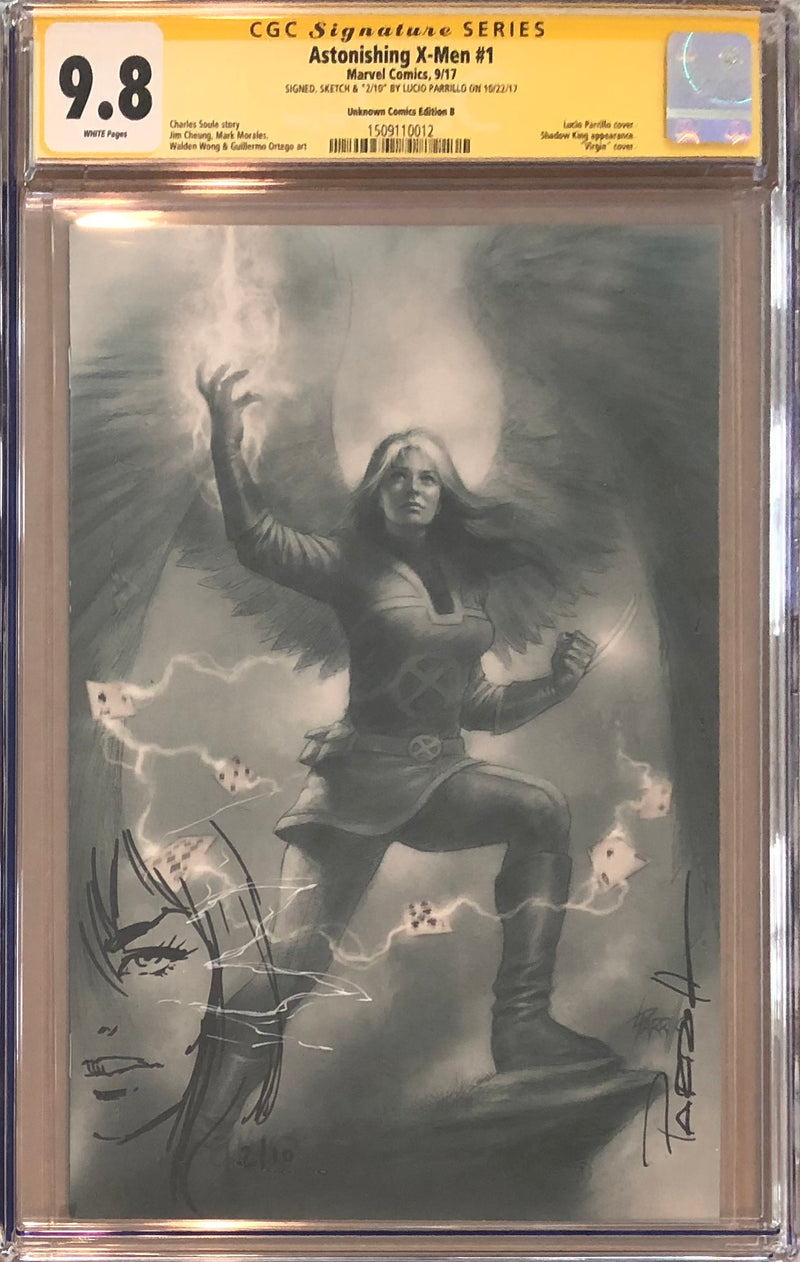 Astonishing X-Men #1 Unknown Comics B Virgin Variant CGC 9.8 SS Sketched Psylocke #2/10