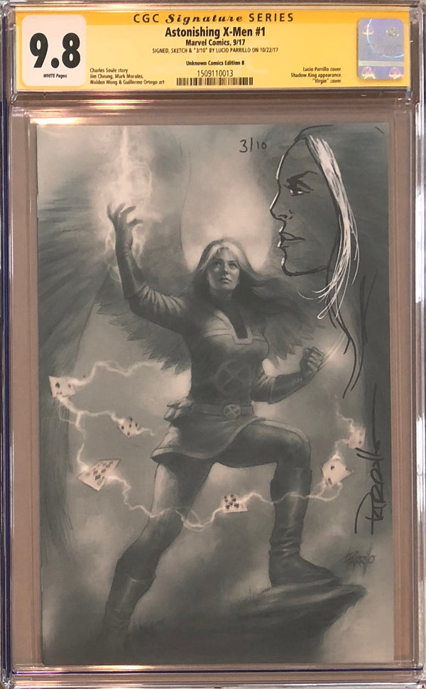 Astonishing X-Men #1 Unknown Comics B Virgin Variant CGC 9.8 SS Sketched Rogue #3/10