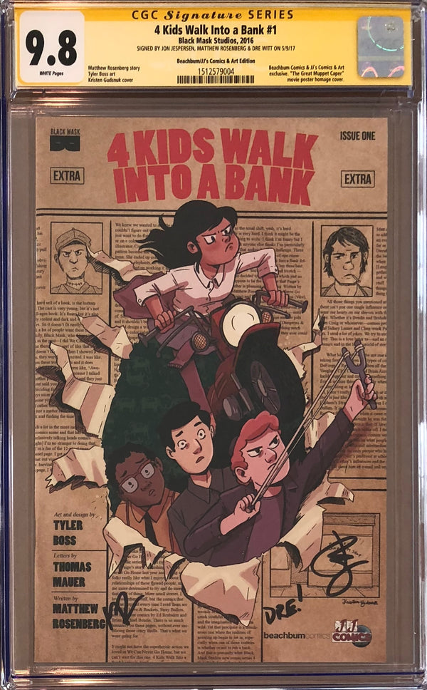 4 Kids Walk into a Bank #1 BeachBum Comics/JJ's Comic & Art Exclusive CGC 9.8 SS