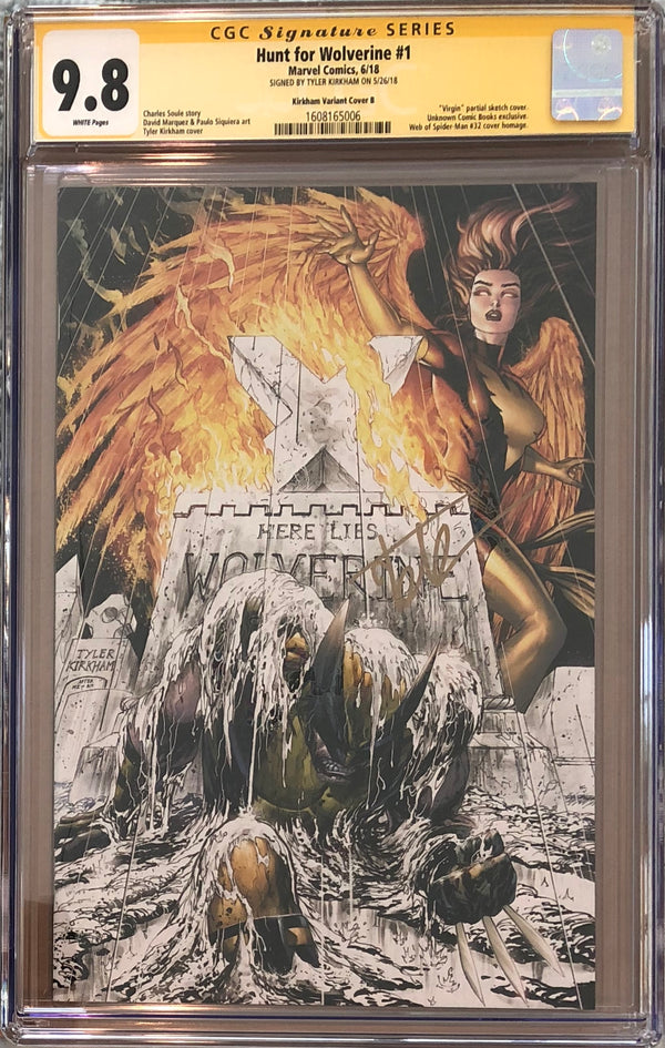 Hunt For Wolverine #1 Tyler Comics Partial Sketch Virgin Exclusive CGC 9.8 SS