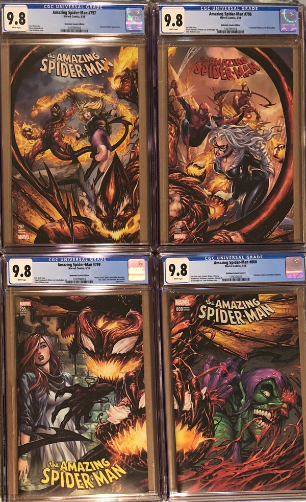 Amazing Spider-Man #797, #798, #799, #800 Tyler Kirkham Connecting Cover Variant Set CGC 9.8