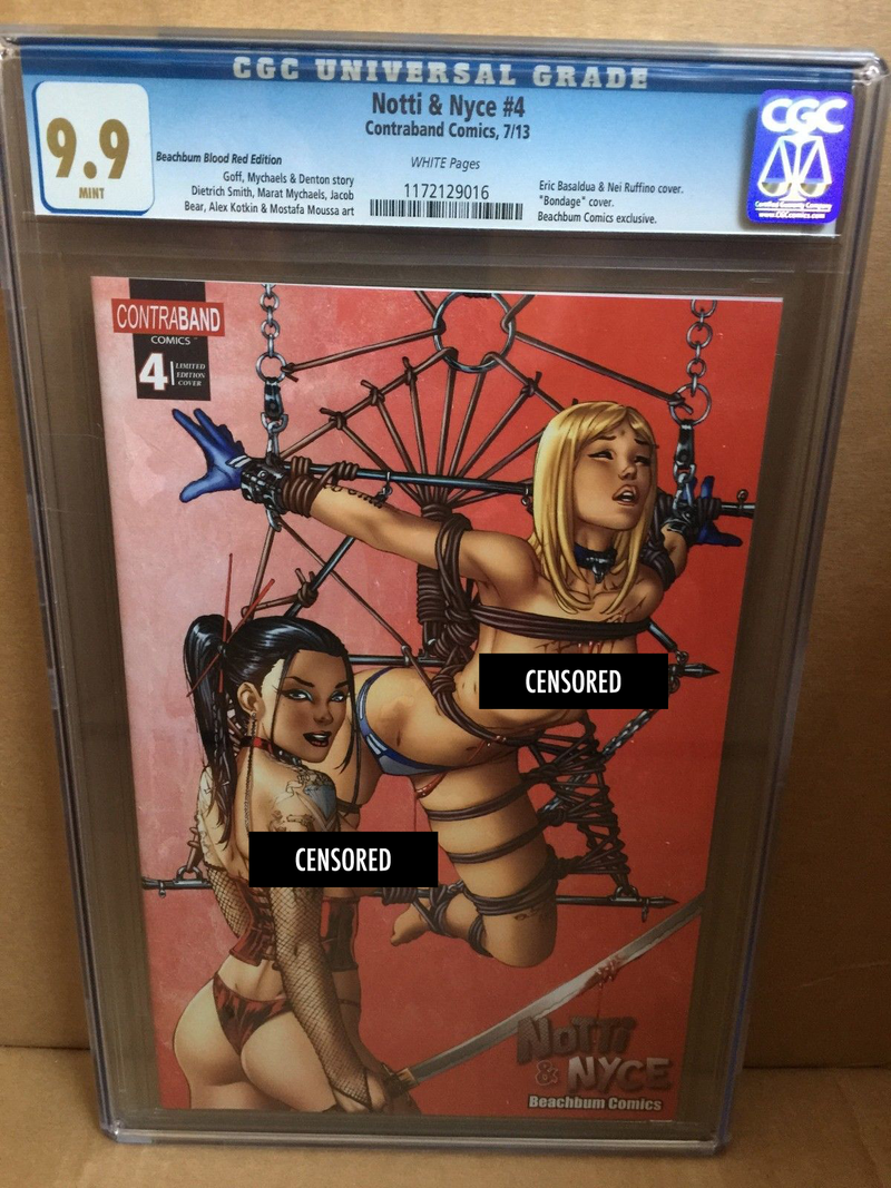 "Notti & Nyce #4 EBAS Naughty ""Blood Red"" BeachBum Comics Exclusive CGC 9.9 - Only 5 made!"