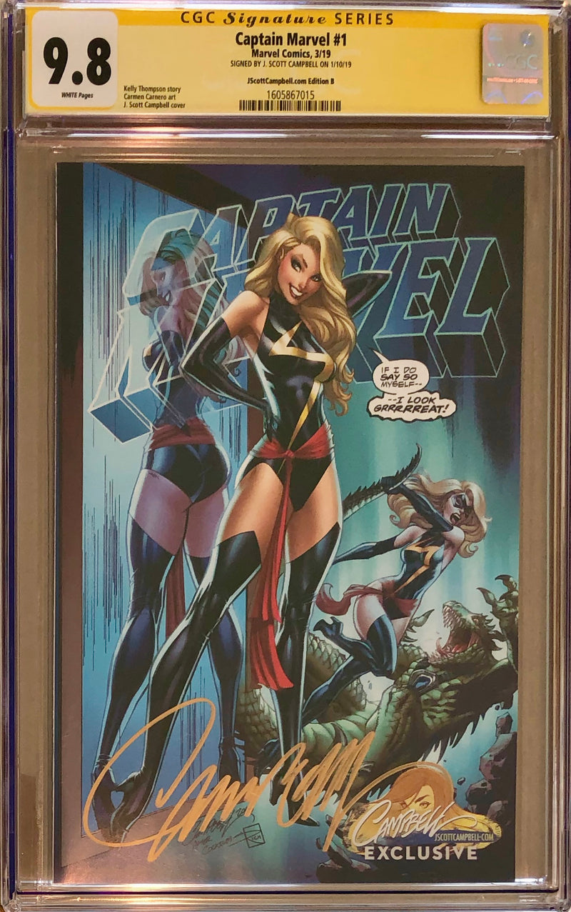 Captain Marvel #1 J. Scott Campbell Edition A-E Exclusives CGC 9.8 SS Set