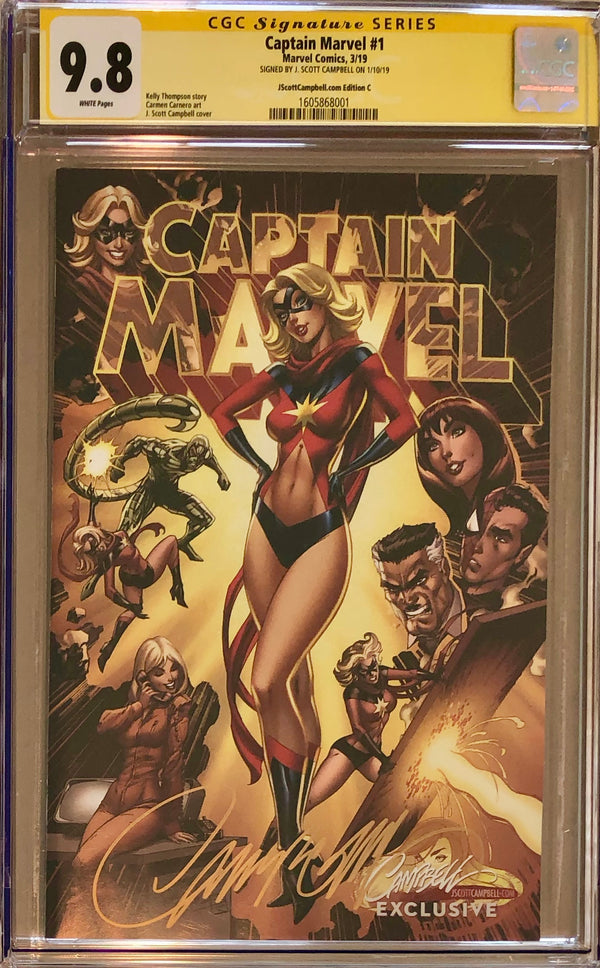 "Captain Marvel #1 J. Scott Campbell Edition C ""Golden Era"" Exclusive CGC 9.8 SS"