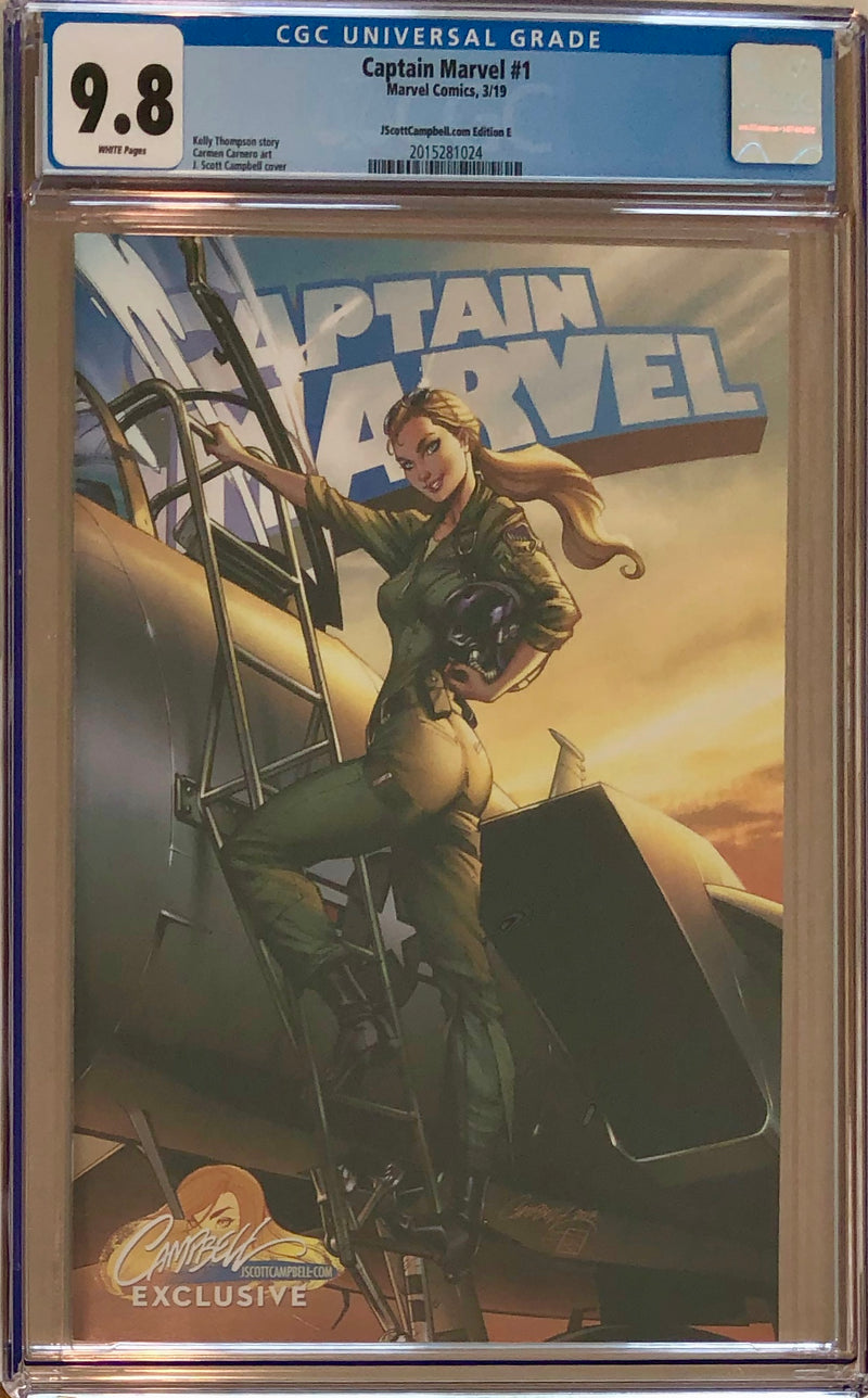 "Captain Marvel #1 J. Scott Campbell Edition E ""Fighter Pilot"" Exclusive CGC 9.8"