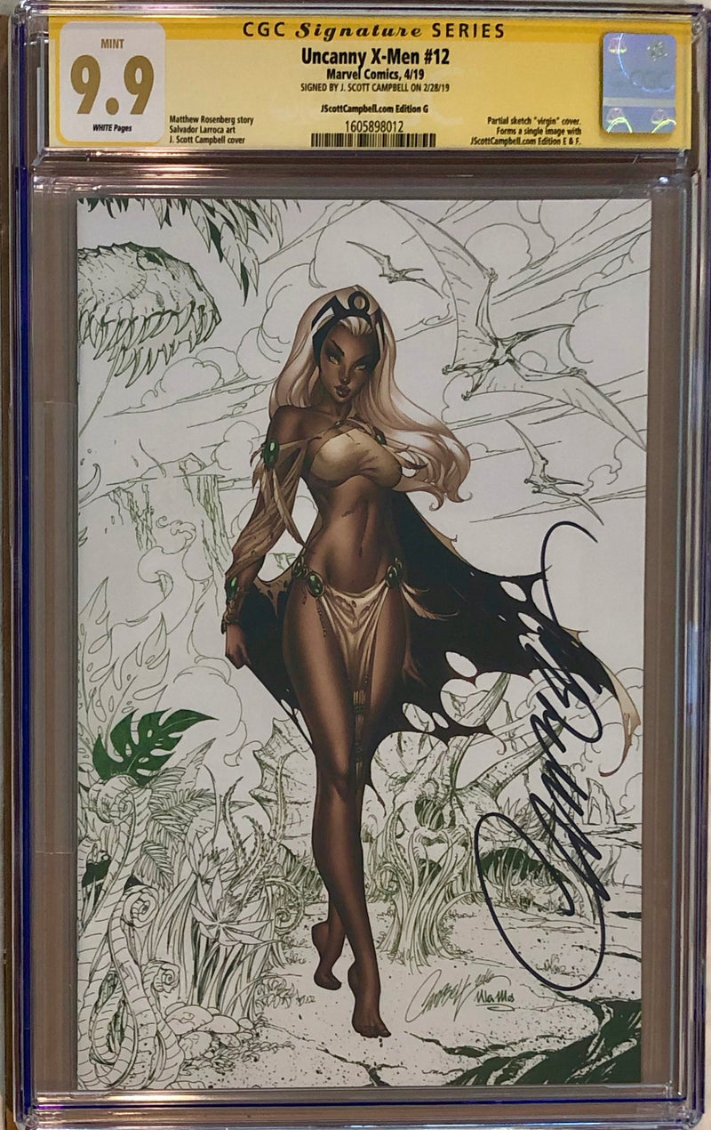 "Uncanny X-Men #12 J. Scott Campbell Edition G ""Storm"" Color Sketch Virgin Exclusive CGC 9.9 SS MINT"