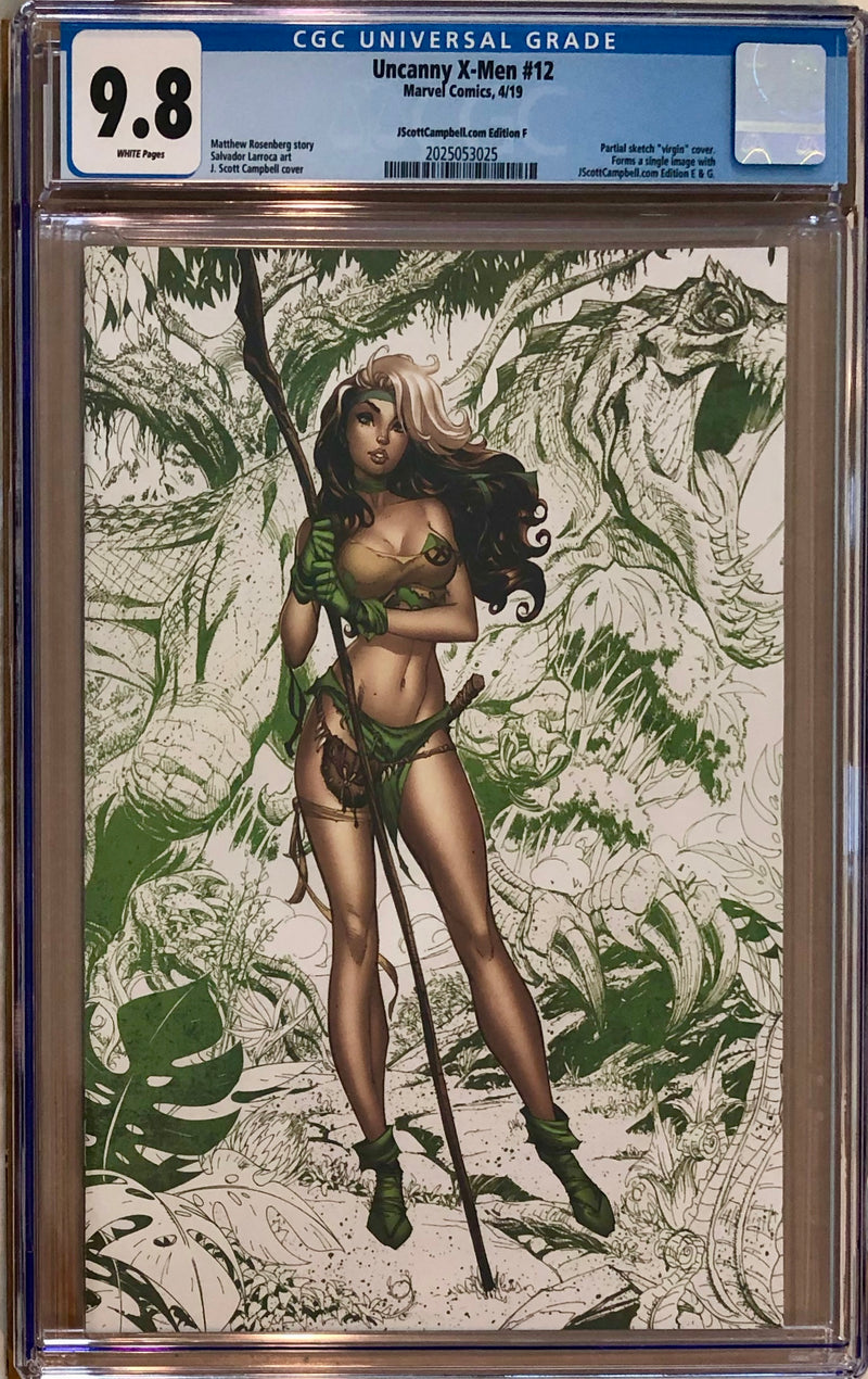 "Uncanny X-Men #12 J. Scott Campbell Edition F ""Rogue"" Color Sketch Virgin Exclusive CGC 9.8"