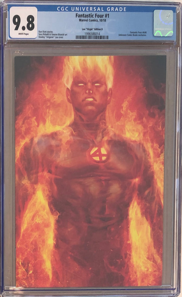 Fantastic Four #1 Stanley Artgerm Lau Virgin D Human Torch Exclusive CGC 9.8