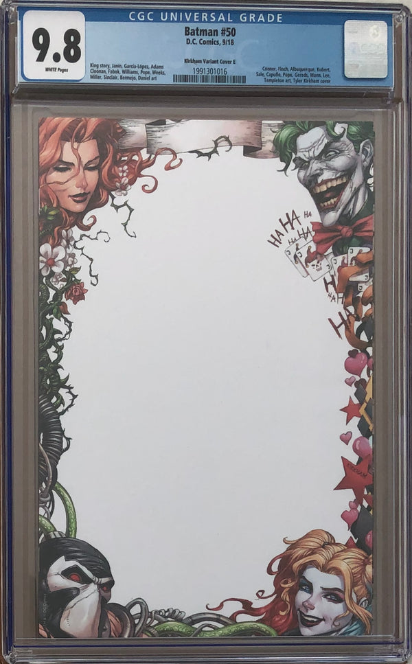 Batman #50 Tyler Kirkham Blank Virgin Sketch Variant Cover E CGC 9.8