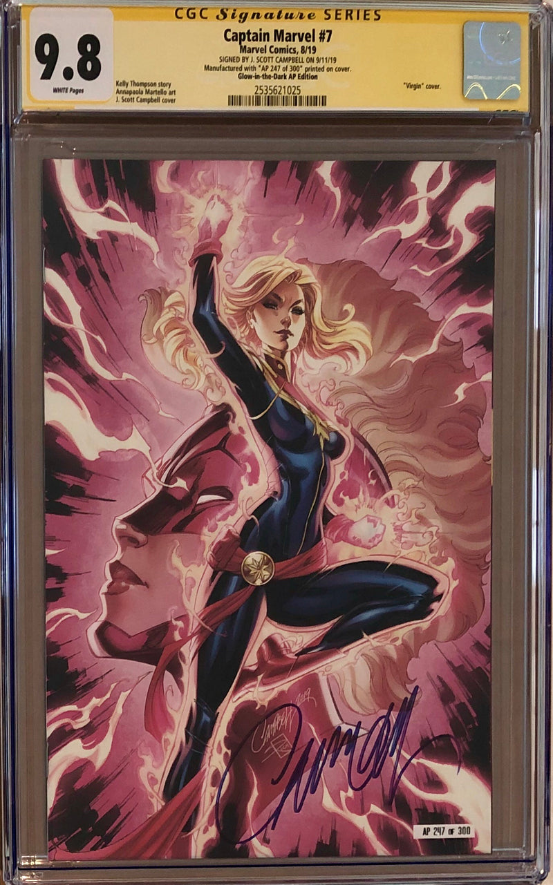 Captain Marvel #7 J. Scott Campbell SDCC Glow in the Dark Artist Proof AP Exclusive CGC 9.8 SS