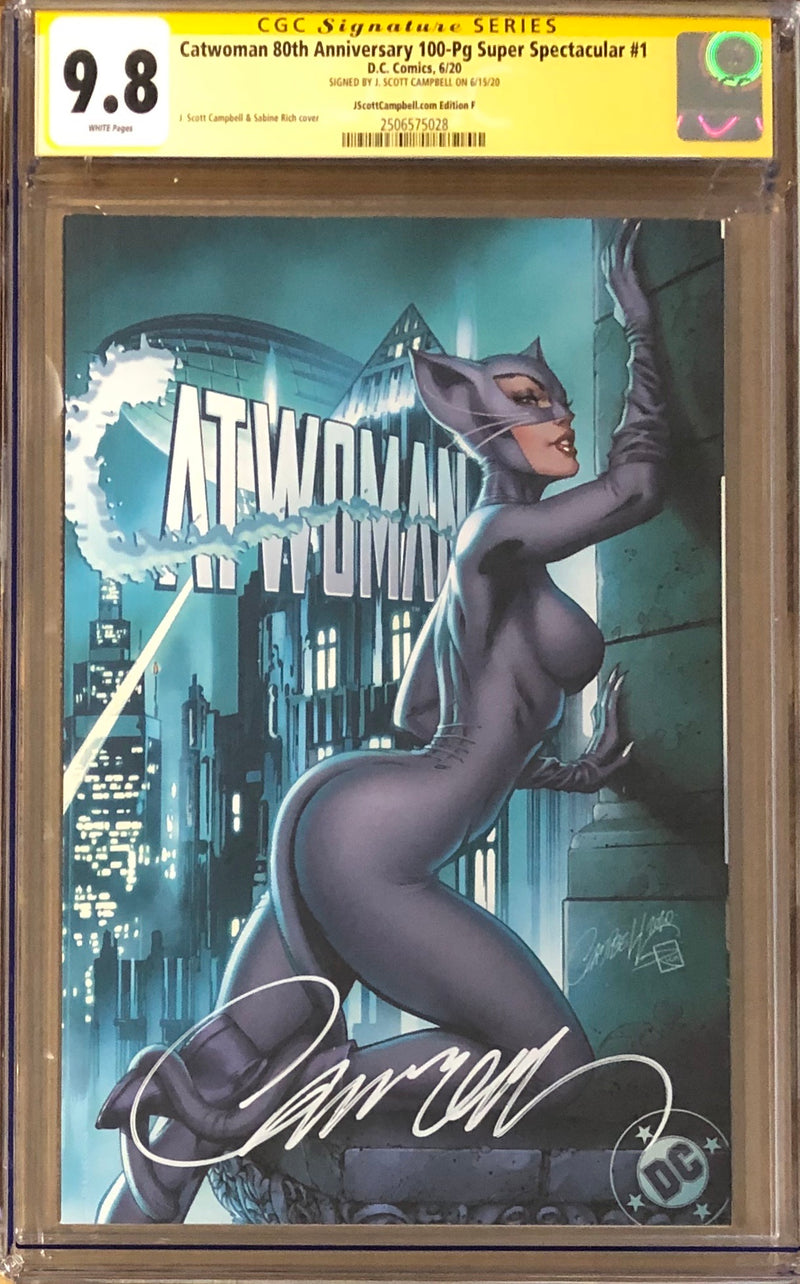 "Catwoman 80th Anniversary 100 Page Super Spectacular #1 J. Scott Campbell Exclusive F ""Year One"" CGC 9.8 SS"