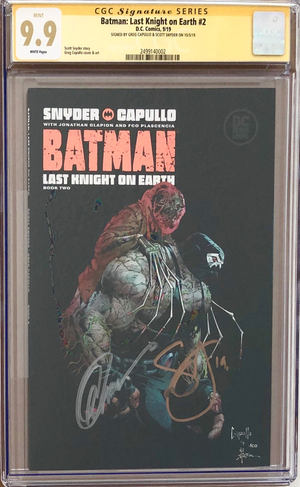 Batman: Last Knight On Earth #2 DC Black Label CGC 9.9 SS - Capullo & Snyder