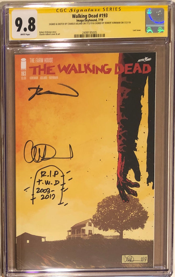 The Walking Dead #193 CGC 9.8 SS Rare Double Signed and Sketched! - Final Issue! - 005