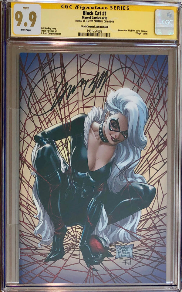 "Black Cat #1 J. Scott Campbell Exclusive F SDCC ""McFarlane Homage"" Virgin CGC 9.9 SS"