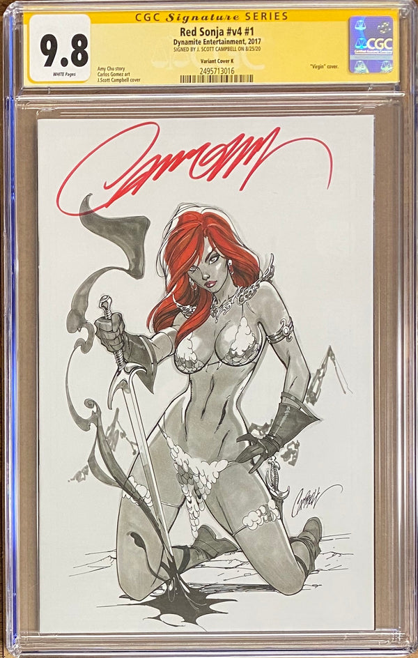 Red Sonja #1 J. Scott Campbell 1:50 Retailer Incentive Variant Cover K CGC 9.8 SS