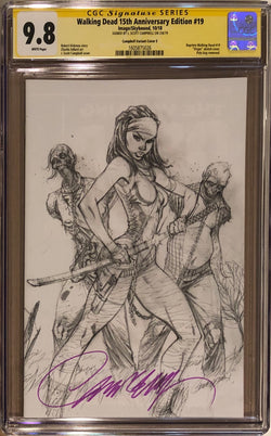 The Walking Dead #19 15th Anniversary Edition J. Scott Campbell 1:100 Pencils Cover CGC 9.8 SS