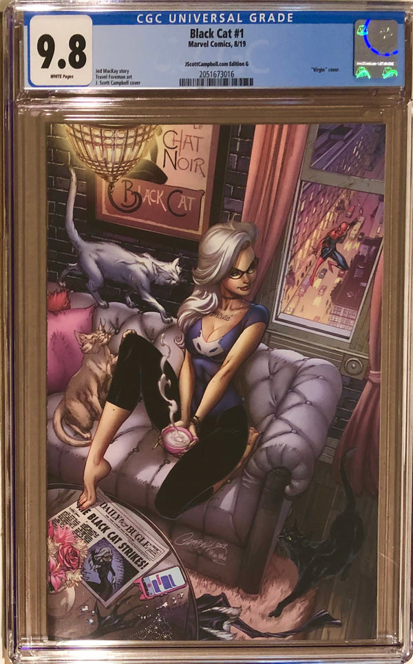 "Black Cat #1 J. Scott Campbell Exclusive G SDCC ""Felicia's Loft"" Virgin CGC 9.8"