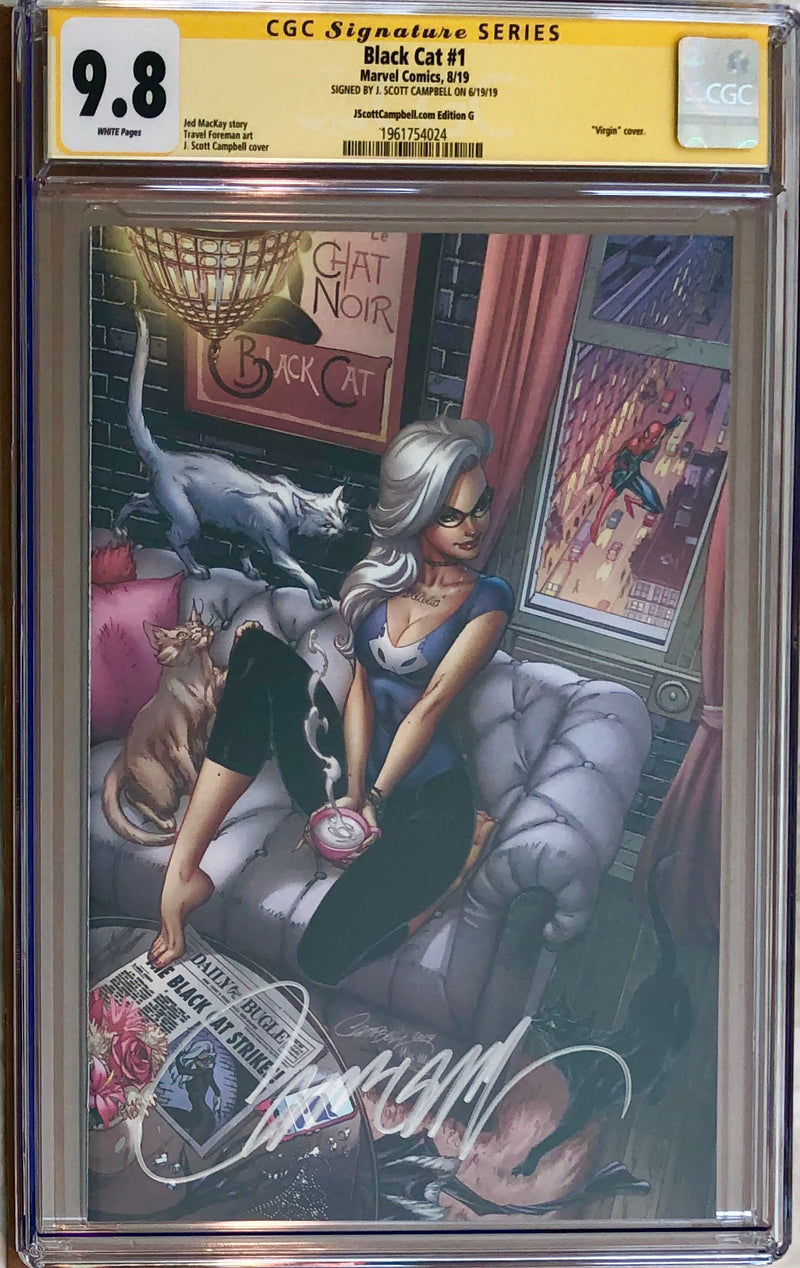 "Black Cat #1 J. Scott Campbell Exclusive G SDCC ""Felicia's Loft"" Virgin CGC 9.8 SS"