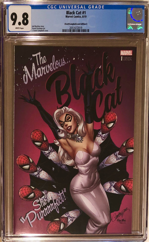 "Black Cat #1 J. Scott Campbell Exclusive E SDCC ""Marvelous Black Cat"" CGC 9.8"