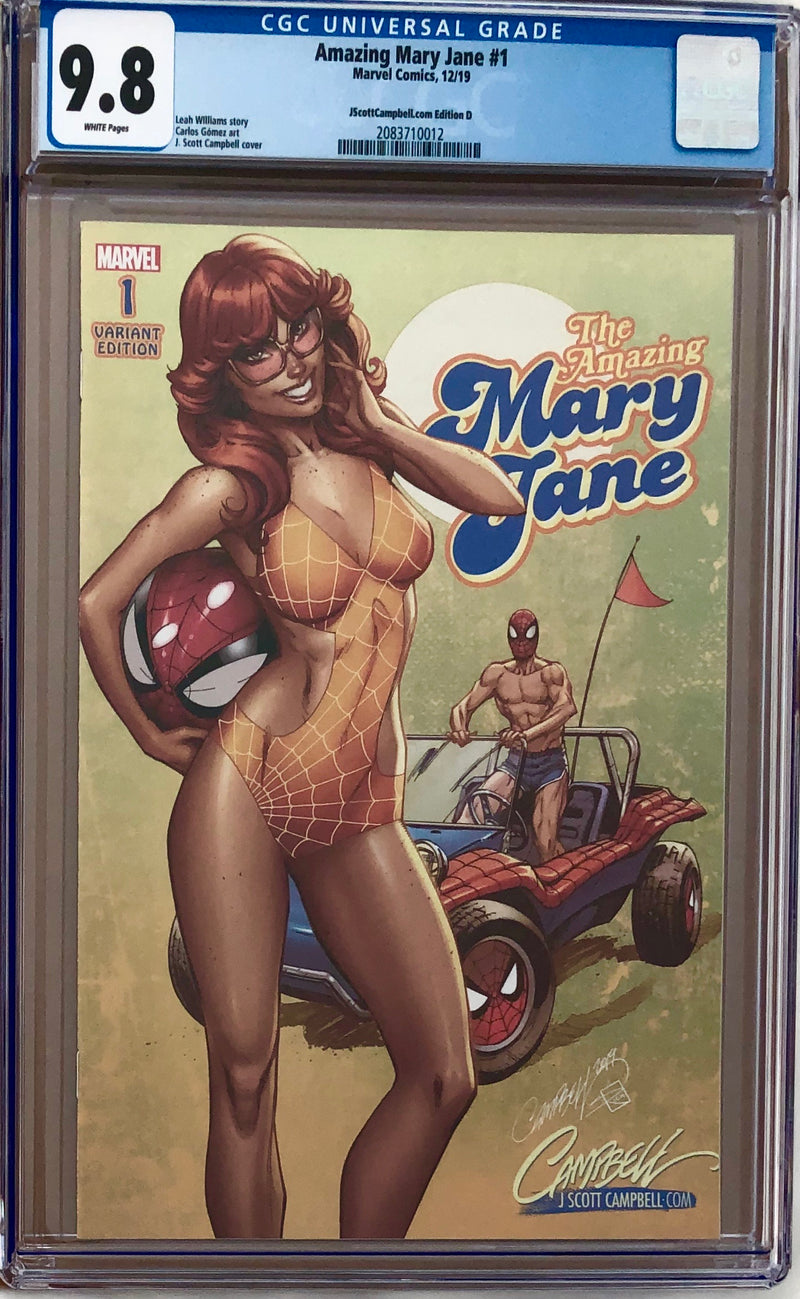 "Amazing Mary Jane #1 J. Scott Campbell Exclusive D - ""70s - Feathered hair n' Spider-Buggy!"" CGC 9.8"