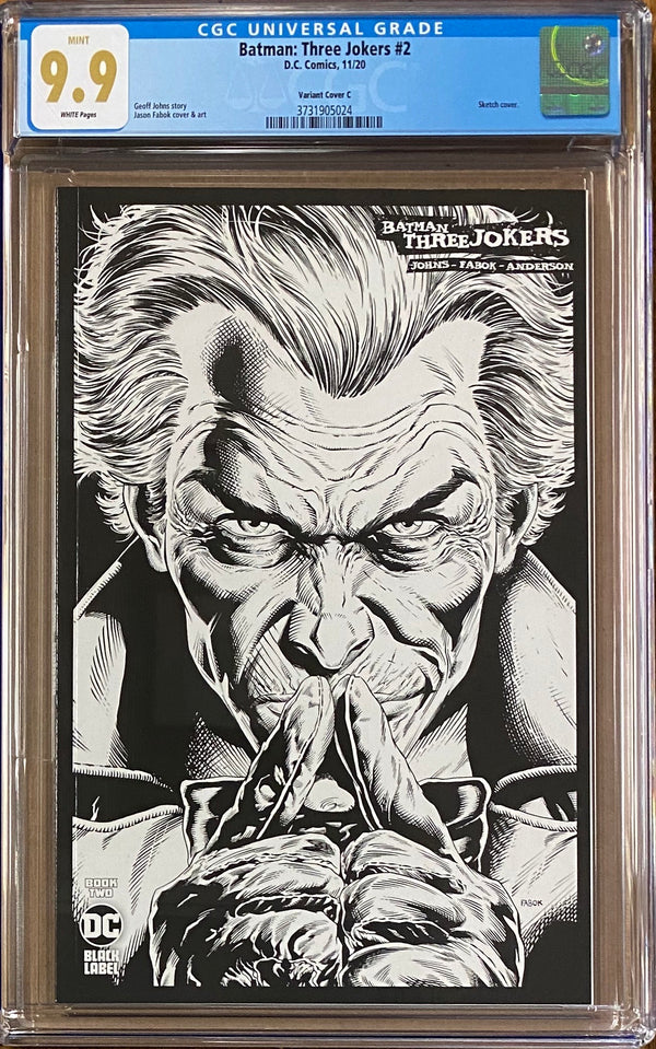 Batman: Three Jokers #2 1:100 B/W Retailer Incentive Variant C DC Black Label CGC 9.9