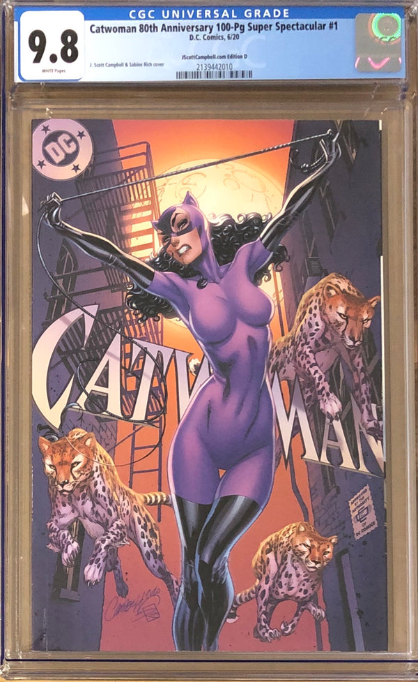 "Catwoman 80th Anniversary 100 Page Super Spectacular #1 J. Scott Campbell Exclusive D ""Jim Balent"" CGC 9.8"