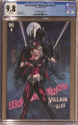 "Harley Quinn's Villain of the Year #1 J. Scott Campbell Exclusive C - ""Harley & Bats'"" CGC 9.8"