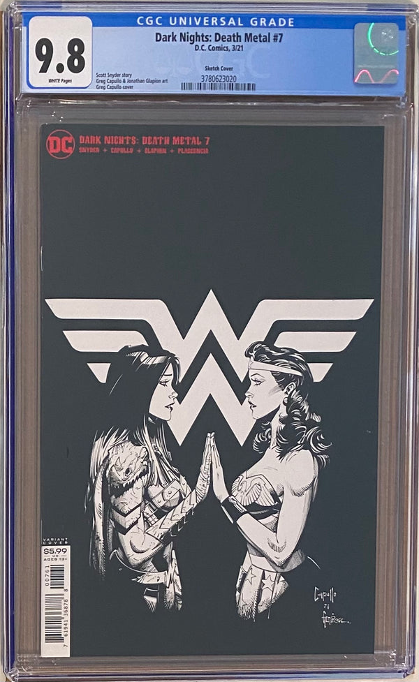 Dark Nights Death Metal #7 1:100 Retailer Incentive Sketch Cover CGC 9.8 - 1st Yara Flor