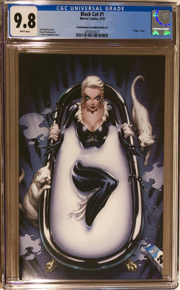 "Black Cat #1 J. Scott Campbell ""Milk Bath"" Virgin Exclusive CGC 9.8"