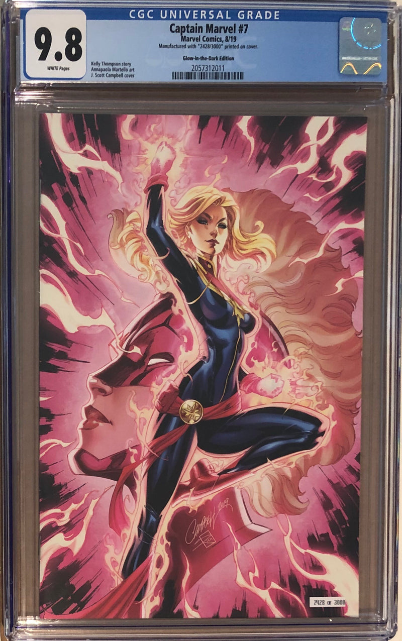 Captain Marvel #7 J. Scott Campbell SDCC Glow in the Dark Exclusive CGC 9.8