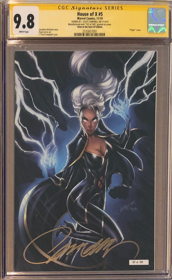 House of X #5 J. Scott Campbell NYCC Glow in the Dark Artist Proof AP Exclusive CGC 9.8 SS