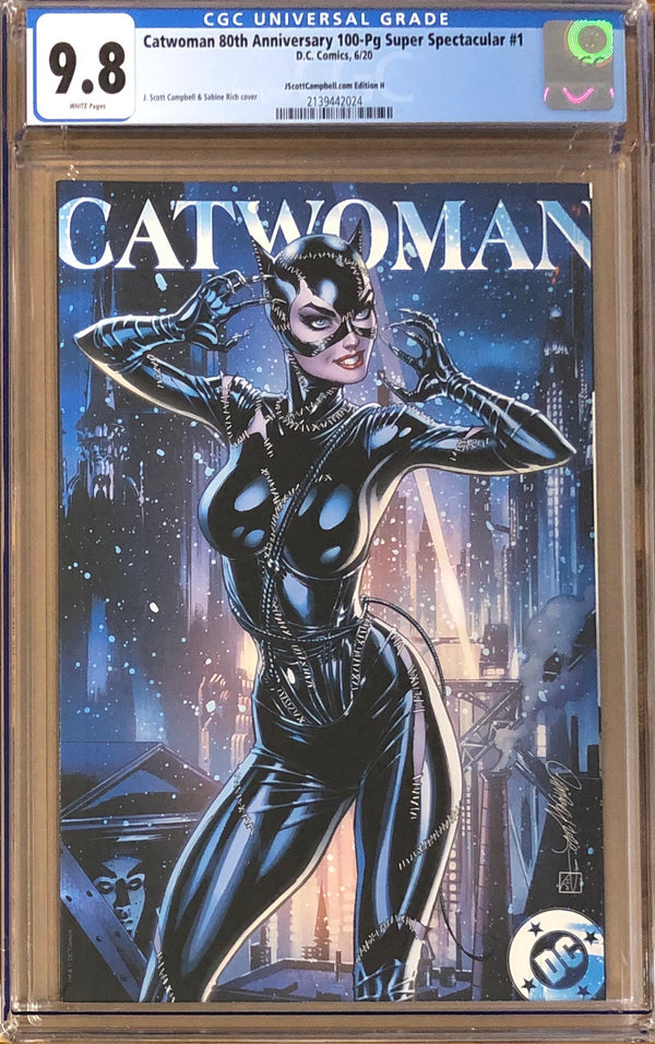 "Catwoman 80th Anniversary 100 Page Super Spectacular #1 J. Scott Campbell Exclusive H ""1990s Movie"" CGC 9.8"
