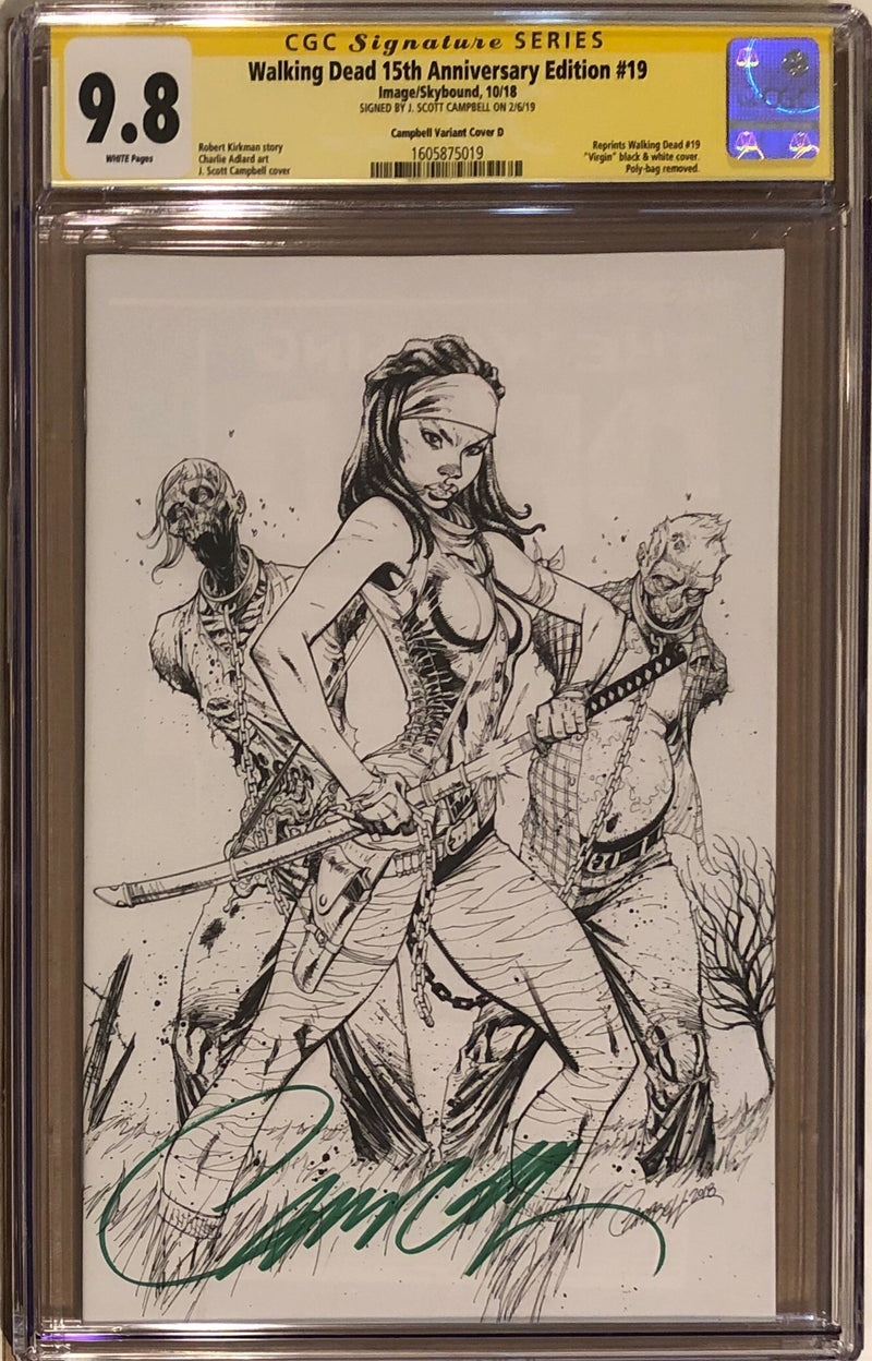 The Walking Dead #19 15th Anniversary Edition J. Scott Campbell B/W Virgin Sketch Cover CGC 9.8 SS