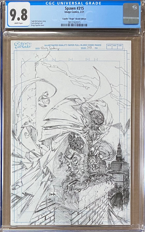 "Spawn #315 Capullo/McFarlane Virgin ""Pencils"" Sketch Cover CGC 9.8"