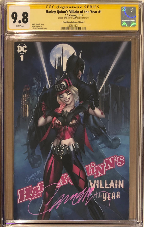 "Harley Quinn's Villain of the Year #1 J. Scott Campbell Exclusive C - ""Harley & Bats'"" CGC 9.8 SS"