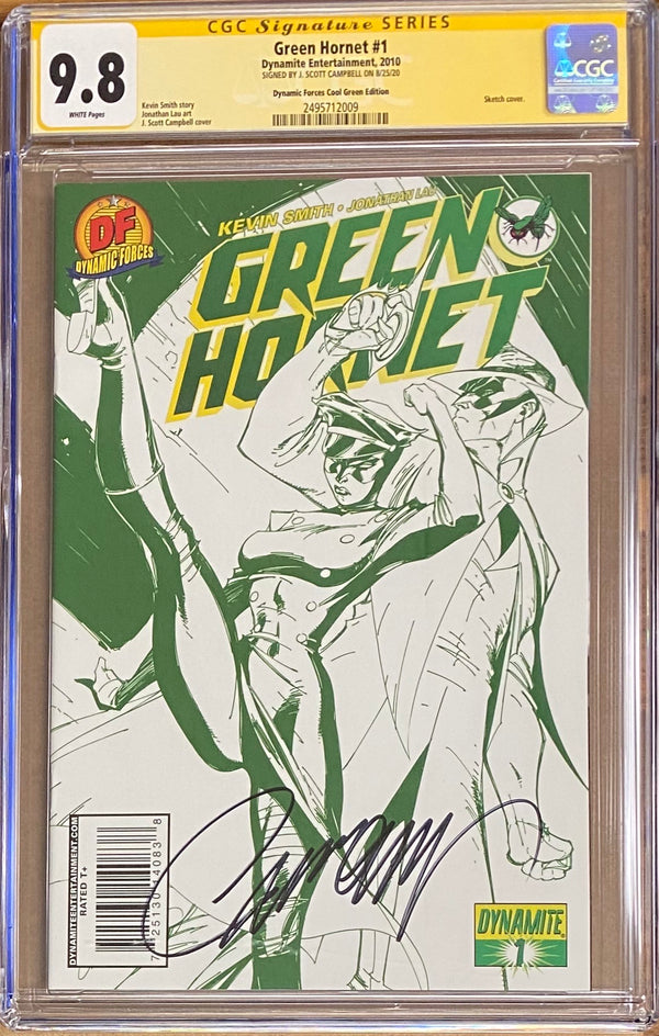 Green Hornet #1 J. Scott Campbell Dynamic Forces Cool Green Edition CGC 9.8 SS