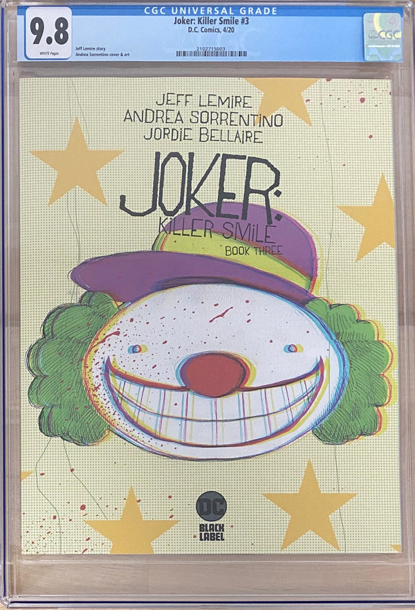 Joker: Killer Smile #3 DC Black Label CGC 9.8