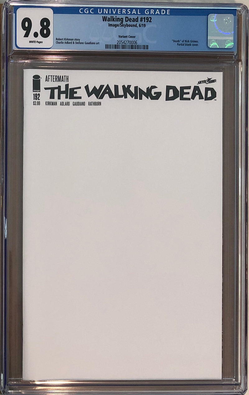 The Walking Dead #192 Blank Variant Cover CGC 9.8 - Death of Rick Grimes
