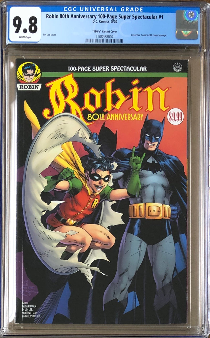 "Robin 80th Anniversary 100 Page Super Spectacular #1 Jim Lee ""1940s"" Variant CGC 9.8"