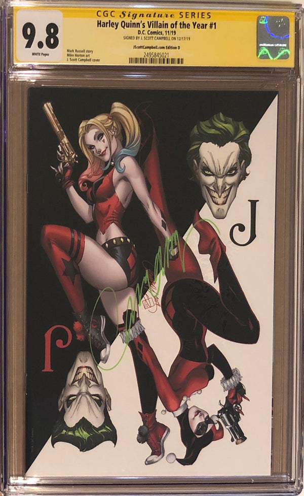 "Harley Quinn's Villain of the Year #1 J. Scott Campbell Exclusive D - ""Joker Card'"" CGC 9.8 SS"