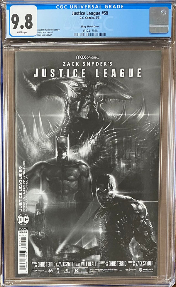 "Justice League #59 Sharp ""Snyder Cut"" 1:25 Retailer Incentive Variant CGC 9.8"