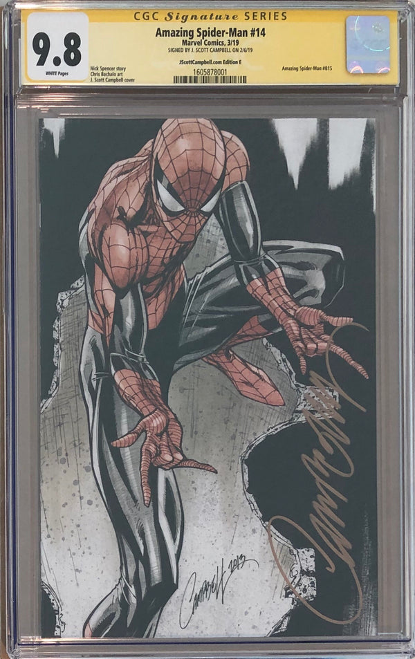 "Amazing Spider-Man #14 J. Scott Campbell Edition E ""Spider-Man"" Virgin Exclusive CGC 9.8 SS"